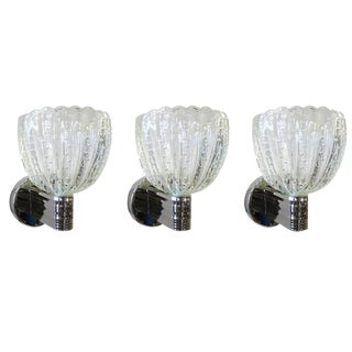 Barovier and Toso Pulegoso Wall Sconces - Set of 3 For Sale