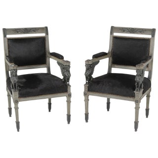 Superb Neoclassical Egyptian Revival Armchairs With Black Cowhide Upholstery For Sale