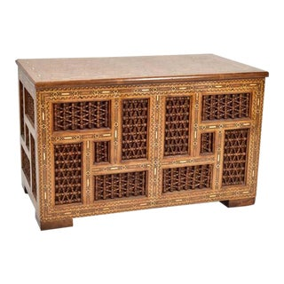 Moroccan Style Inlaid Trunk Blanket Chest For Sale