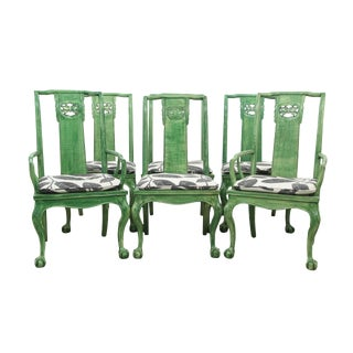 1960s Vintage Drexel Green Chinoserie Dining Chairs- Set of 6 For Sale