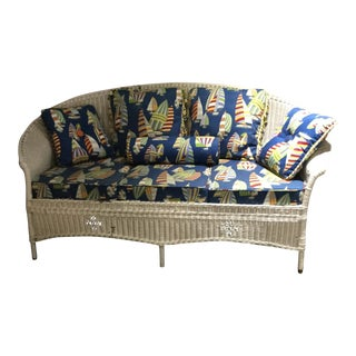 Vintage Curved Wicker Sofa For Sale