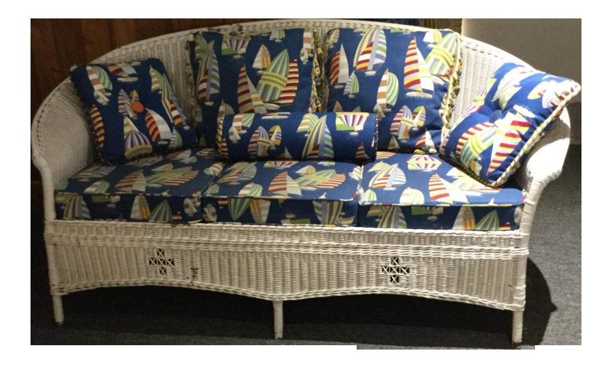 Vintage Curved Wicker Sofa