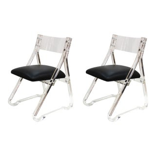 Mid-Century Modern Lucite Side Chairs With Leather Upholstery For Sale
