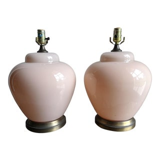 Vintage Blush Glass and Brass Table Lamps - a Pair For Sale