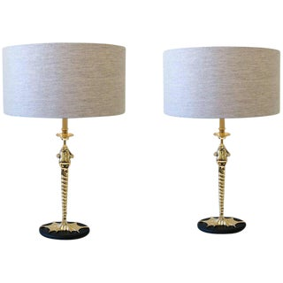 Pair of Brass Frog Table Lamps by Chapman