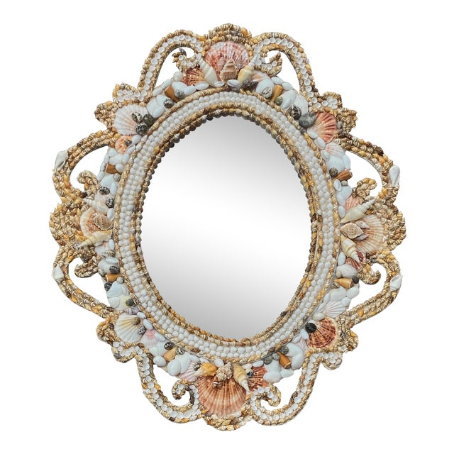 Hollywood Regency Style Shell Encrusted Mirror For Sale