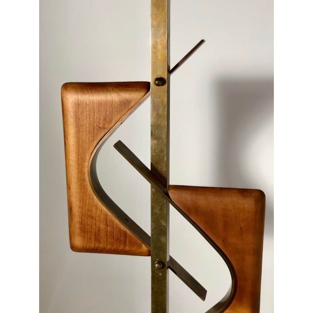 Mid-Century Modern Sculptural Midcentury Lamp of Walnut, Brass, and Cork For Sale - Image 3 of 10