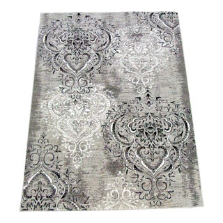 Damask Gray & White Rug 5'3''x 7'7''