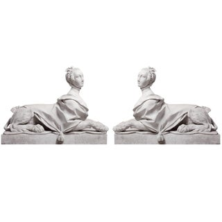 Pair of 19th Century Directoire Garden Sphinxes For Sale