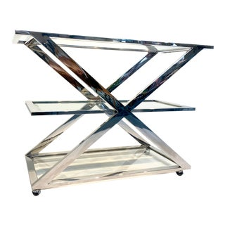 Vintage 1980's Chrome Bar Cart With Glass Shelving For Sale