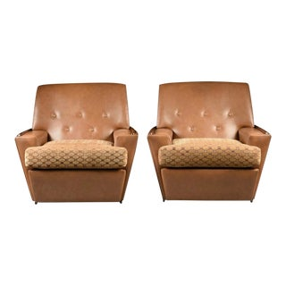 Italian Mid-Century Modern Leather & Velvet Lounge Chairs- a Pair For Sale
