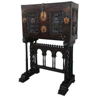18th Century Spanish Baroque Style Cabinet on Stand, Bargueno or Varqueno For Sale