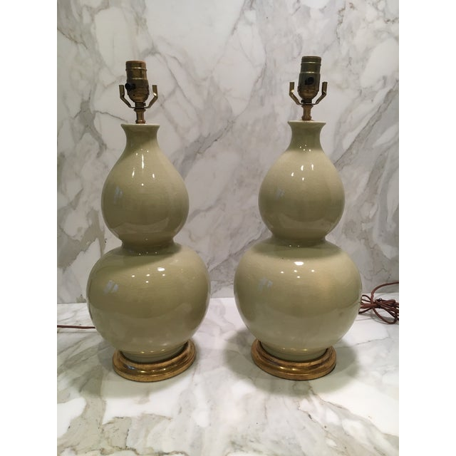 Soft Green Gourd Lamps - a Pair For Sale In Atlanta - Image 6 of 6