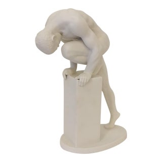 Mid-Century Modern White Porcelain Male Sculpture
