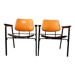 Rare Pair of Mid Century Armchairs by Jaques Hitier 1950's For Sale