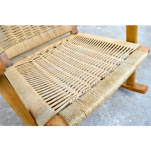 Mid-Century Hans Wegner Style Rope Rocking Chair For Sale - Image 10 of 13