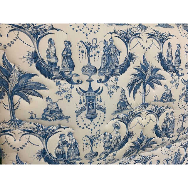 Twin Size Chinoiserie Style Upholstered Headboards For Sale - Image 6 of 7