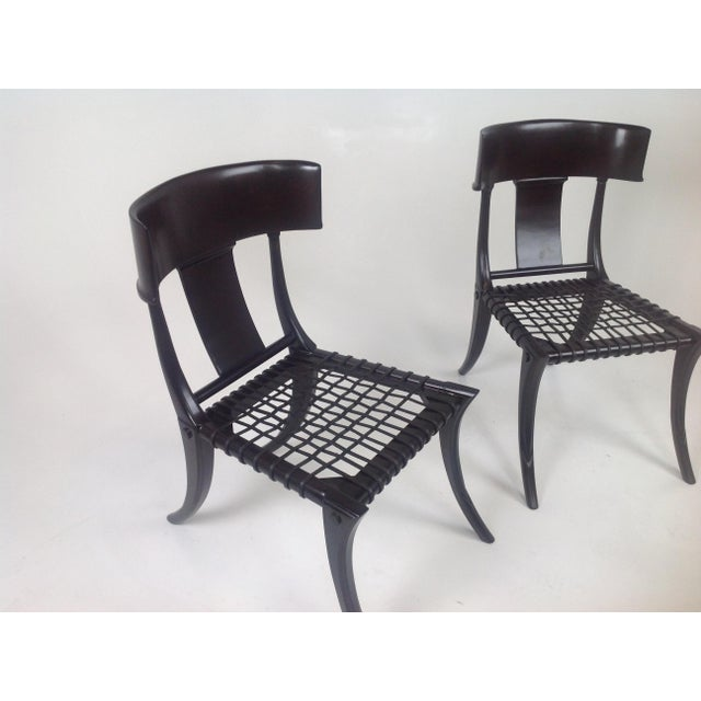 T.H. Robsjohn-Gibbings Klismos Style Dining Chairs in Expresso Finish- Pair For Sale - Image 4 of 7