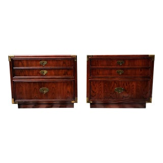 1960s Mid Century Modern Campaign Side Tables / Nightstands - a Pair For Sale