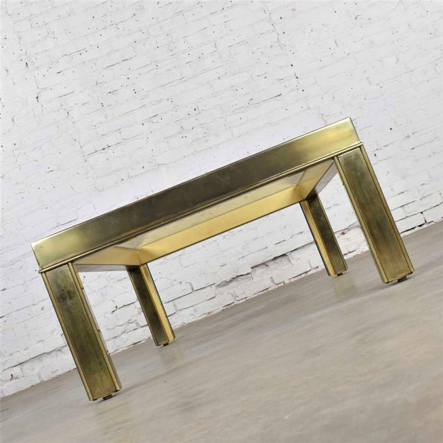 Large Modern Brass & Glass Parsons Style Coffee or Cocktail Table Style Mastercraft For Sale - Image 10 of 13