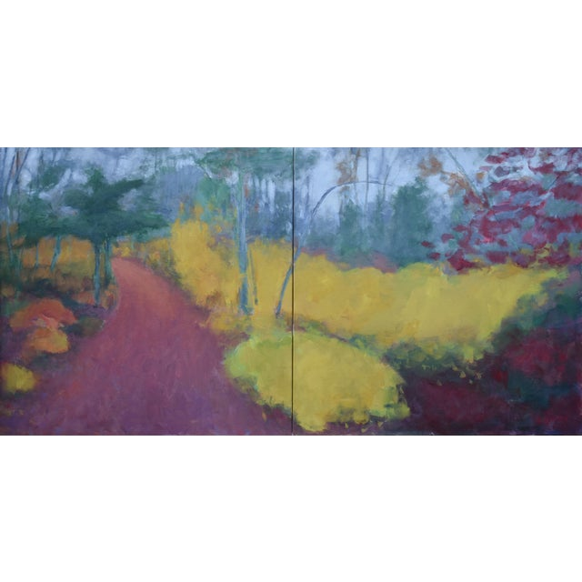 """Turning"" Trail in Autumn Acrylic Painting by Stephen Remick For Sale"