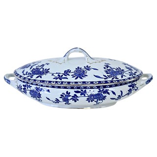 Antique English Delph Flow Blue Tureen For Sale