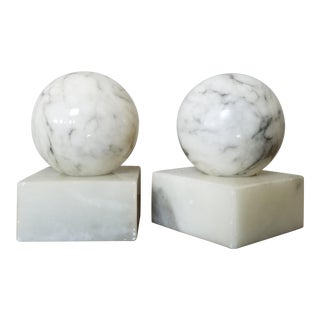 Mid Century Italian Marble Bookends, a Pair