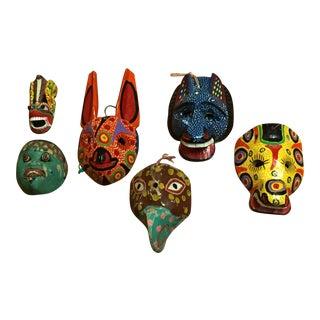 Vintage Mexican/ South American Folk Art Hand Carved Wood Masks - Set of 6 For Sale