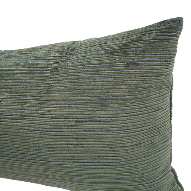 Contemporary Kenneth Ludwig Chicago Green Striped Textured Bolster Pillow For Sale - Image 3 of 6