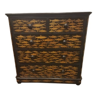 Antique English Fish Decoupage Chest of Drawers For Sale