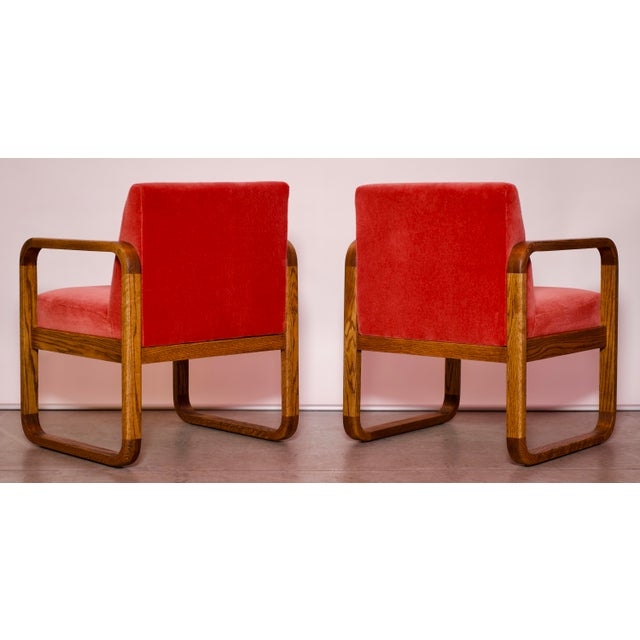 1970s Mid-Century Modern Crimson Mohair Accent Chairs - a Pair For Sale - Image 10 of 13