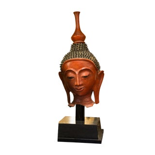 Vintage South East Asian Red Lacquered Buddha Head on Base For Sale