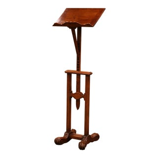 19th Century French Louis XIII Carved Oak Adjustable Lectern Book Stand For Sale