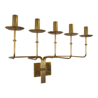 Tommi Parzinger Brass Five Arm Candelabra Sconce by Dorlyn For Sale