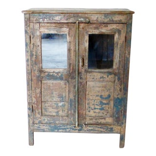 Vintage Colonial Glass Cabinet For Sale