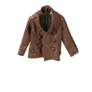 Child Leather Jacket Mounted on Metal Stand For Sale