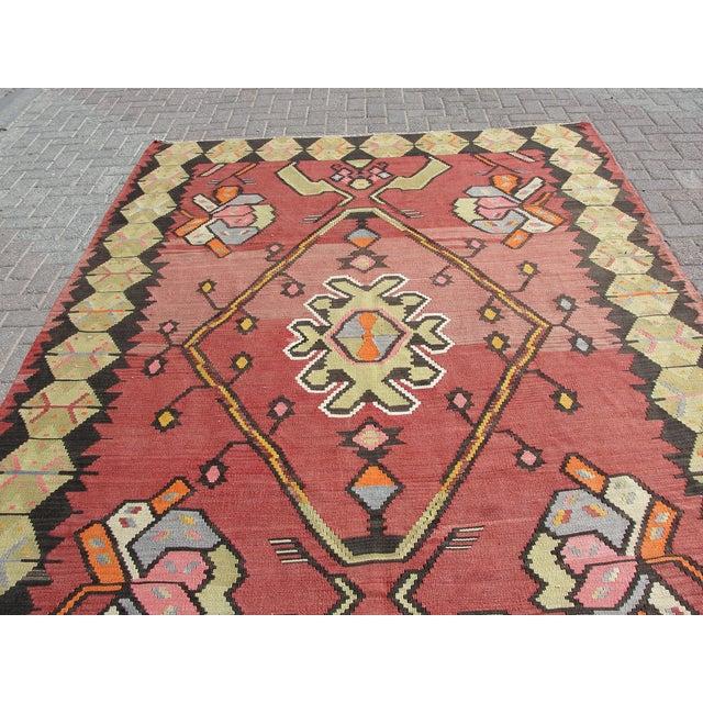 Vintage Turkish Kilim Rug - 7′1″ × 10′11″ For Sale - Image 10 of 11