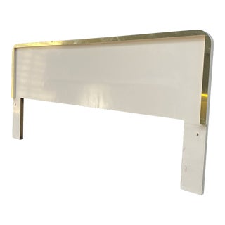 Postmodern Blush Laminated Waterfall Queen/King Headboard With Gold Trim For Sale