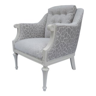 Dorothy Draper Hollywood Regency Club Chair With Giraffe Chenille For Sale
