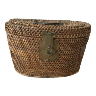 1920s Chinese Wicker and Brass Lunch Basket For Sale