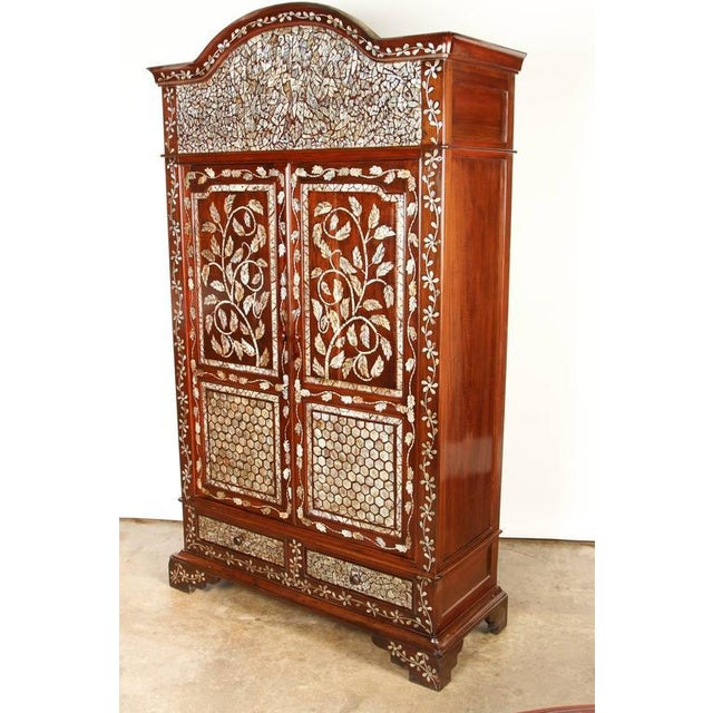 Brown Colonial Rosewood Cabinet with Mother-of-Pearl For Sale - Image 8 of 10