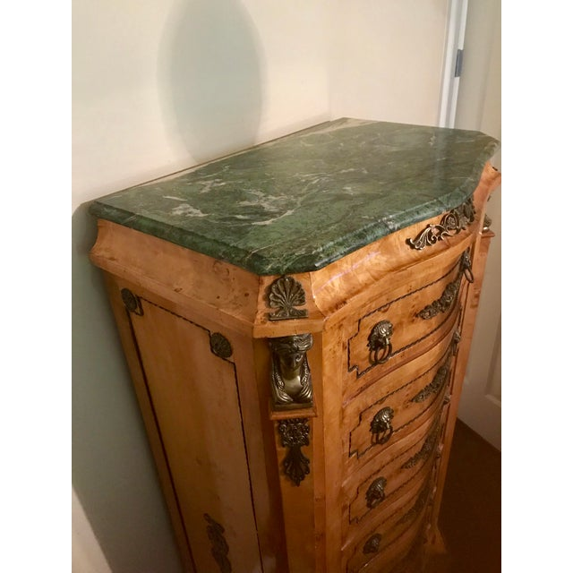 Art Deco Louis XVI Burlwood & Green Marble Top Chest of Drawers For Sale - Image 3 of 6