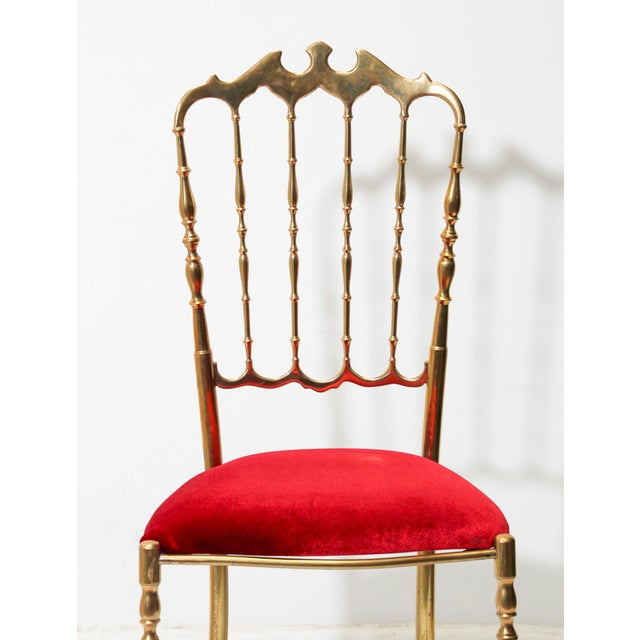Hollywood Regency Chiavari Polished Brass Chair With Red Velvet, Italy, 1960s For Sale - Image 3 of 10