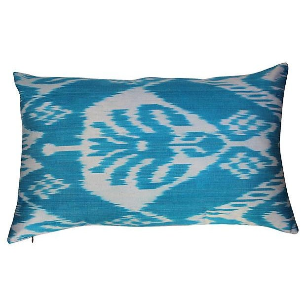 Silk Ikat Turquoise Pillows- A Pair For Sale - Image 4 of 5