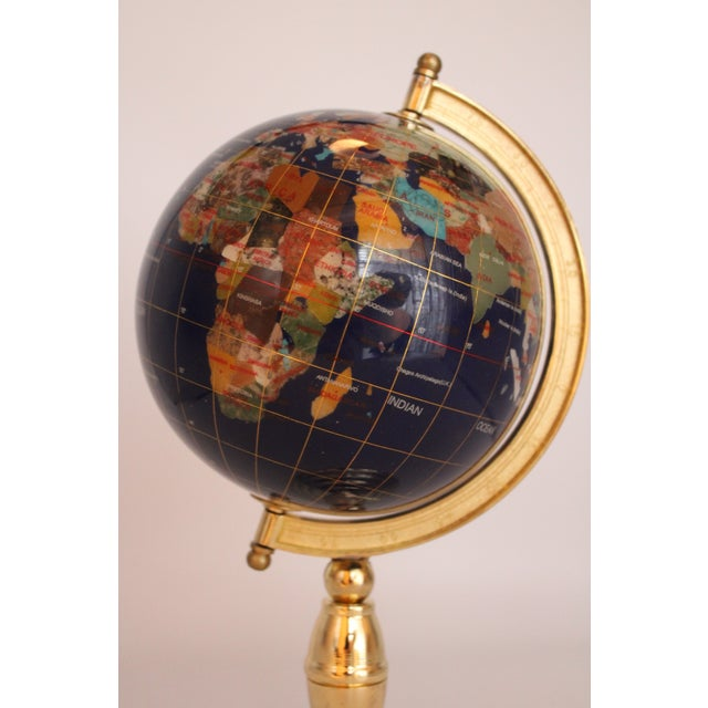 Vintage Blue Lapis World Globe on Brass Stand With Semiprecious Gems For Sale - Image 4 of 10