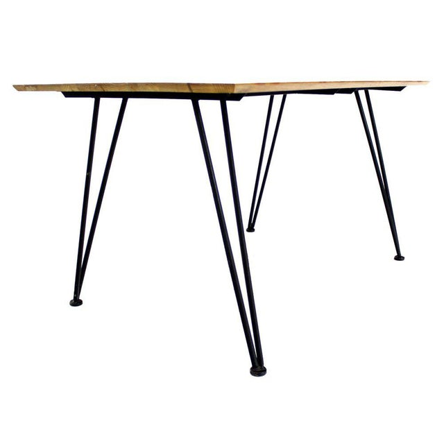 Mid Century Modern Dinette Dining Table with Four Chairs in Iron and Wood For Sale - Image 9 of 10