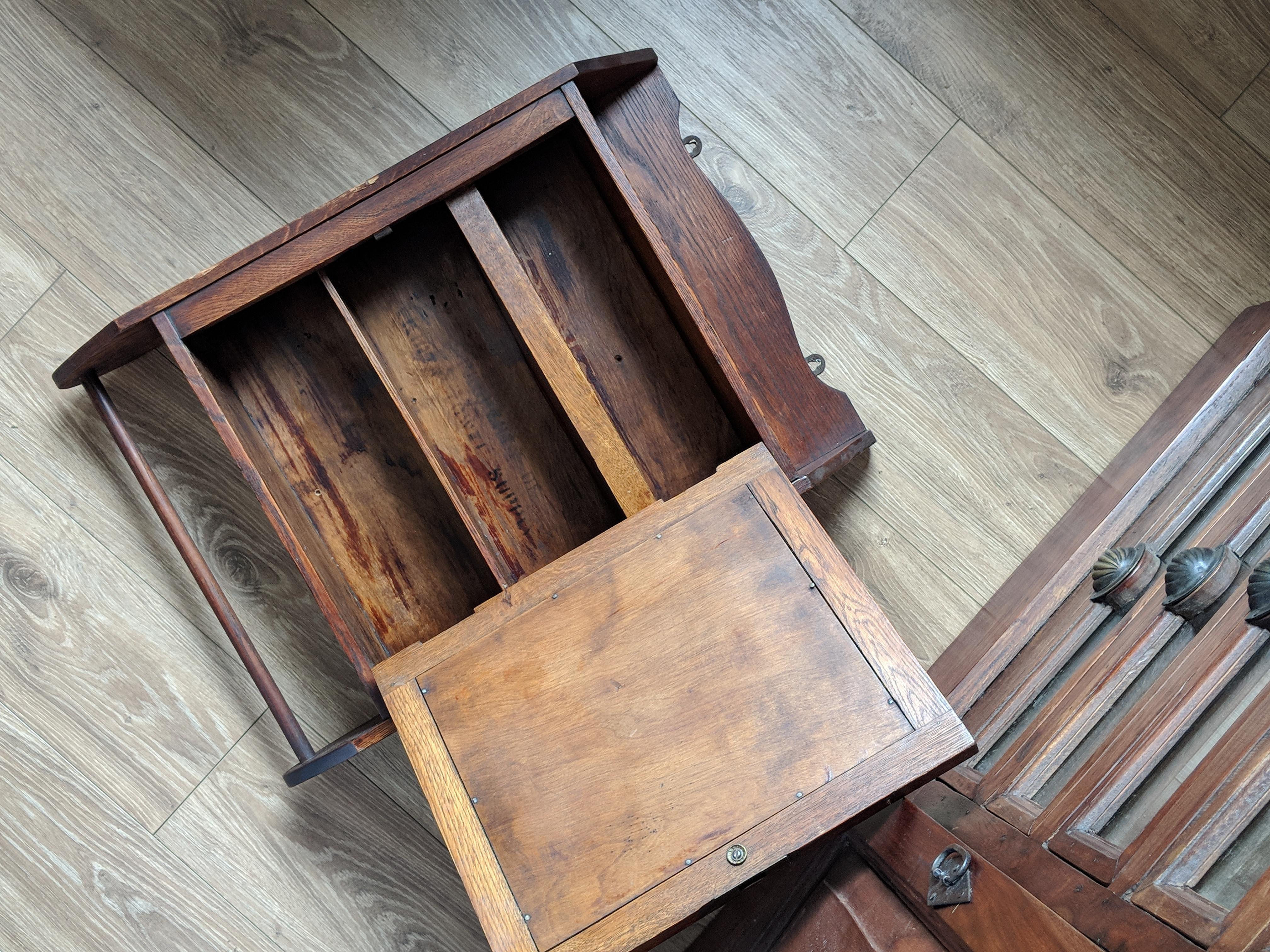 Antique Medicine Cabinet Hardware vintage oak medicine cabinet | chairish