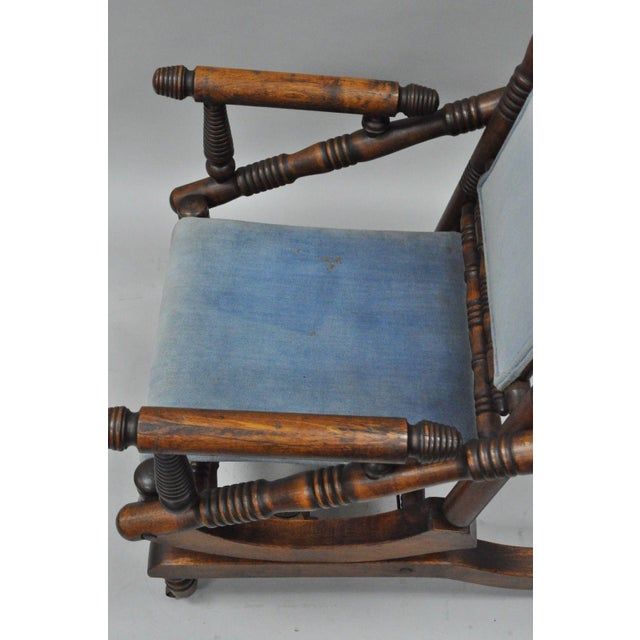 Antique Eastlake Victorian Turned Walnut Blue Platform Rocking Chair For Sale - Image 5 of 11