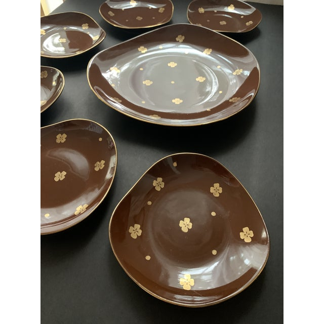Coffee Vintage Mid Century Brow Gilded Cake Dessert Serving Set - 7 Pieces For Sale - Image 8 of 11