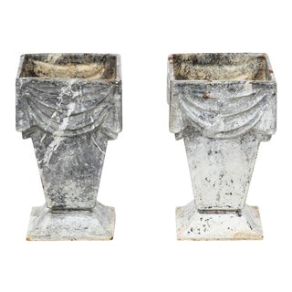 1920s Cast Iron Vases - a Pair For Sale